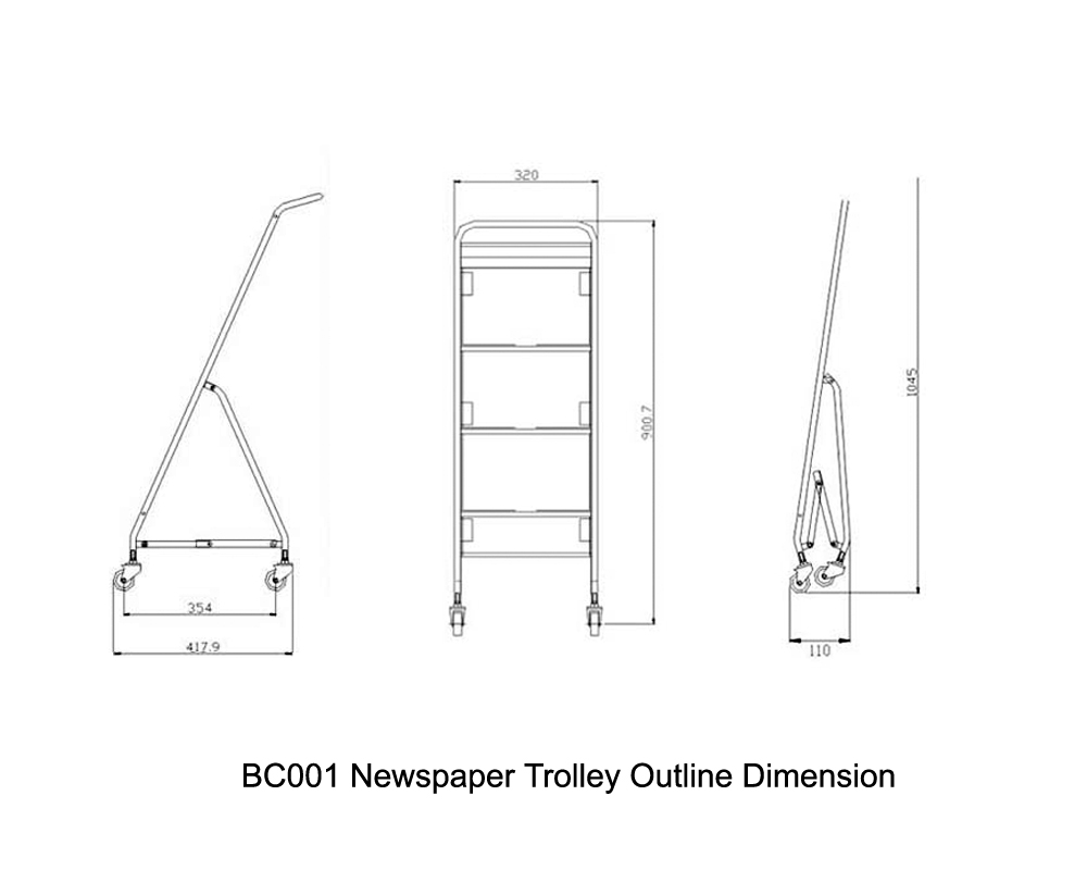 BC001 Newspaper Trolley Outline Dimension