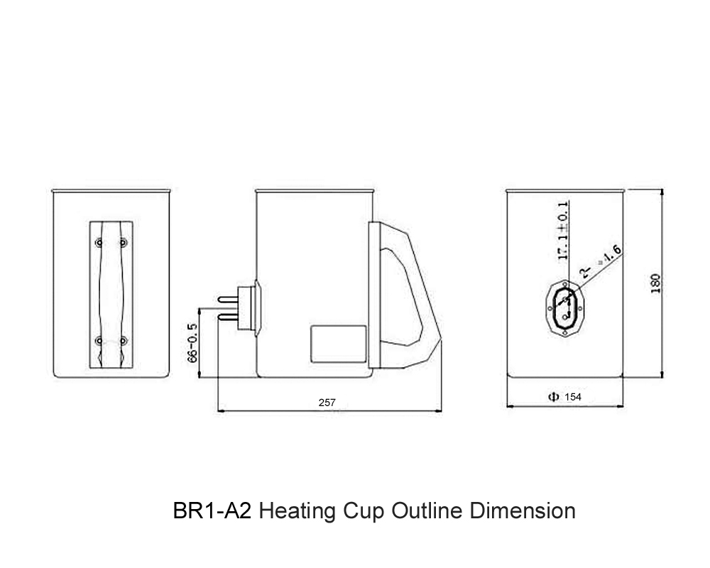 BR1-A2 Heating Cup Outline Dimension