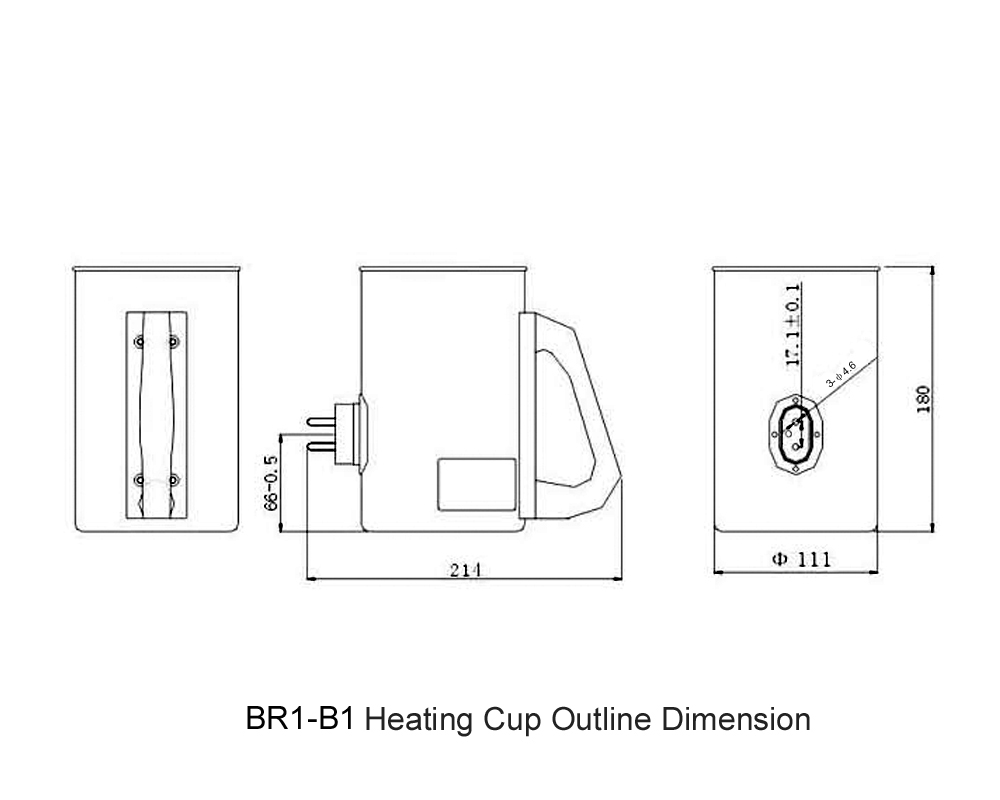 BR1-B1 Heating Cup Outline Dimension
