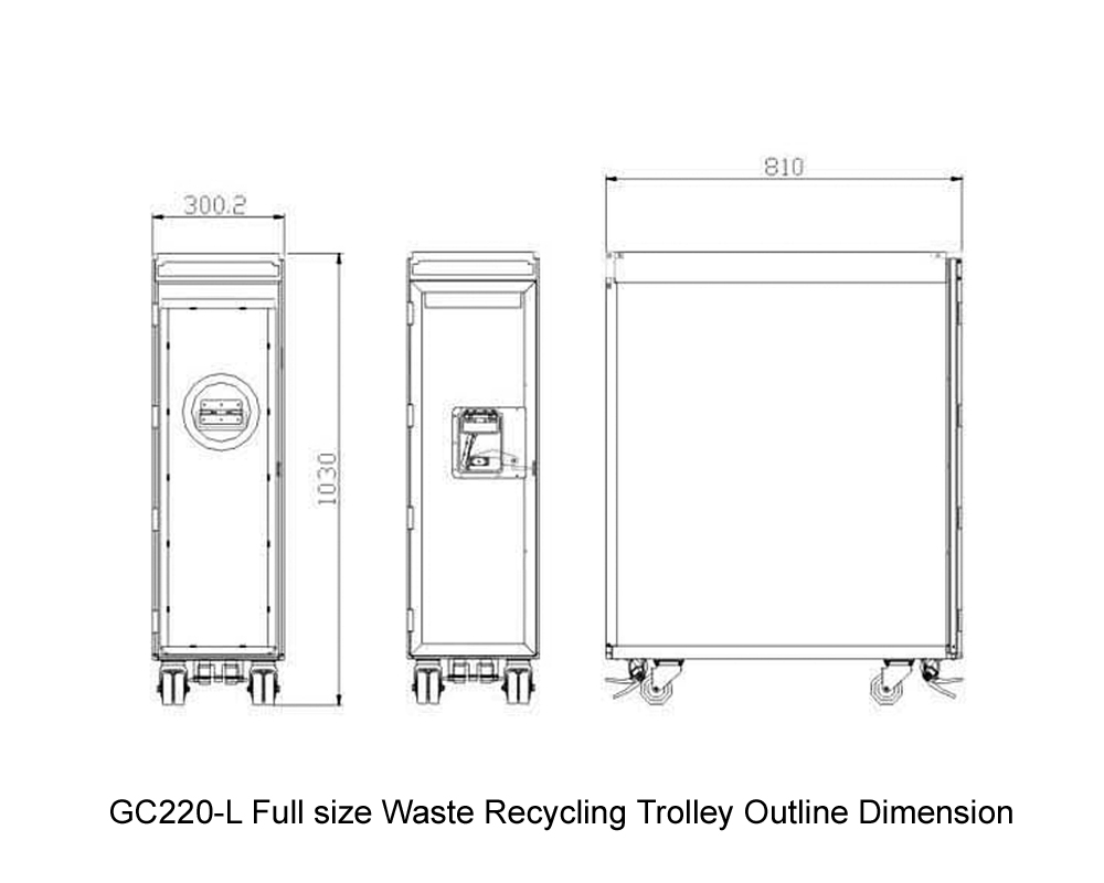 GC220-L Full size Waste Recycling Trolley Outline Dimension