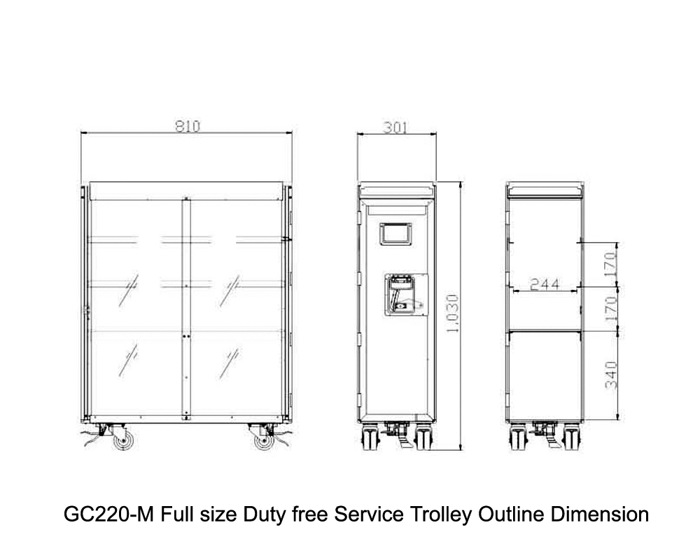 GC220-M Full size Duty free Service Trolley Outline Dimension