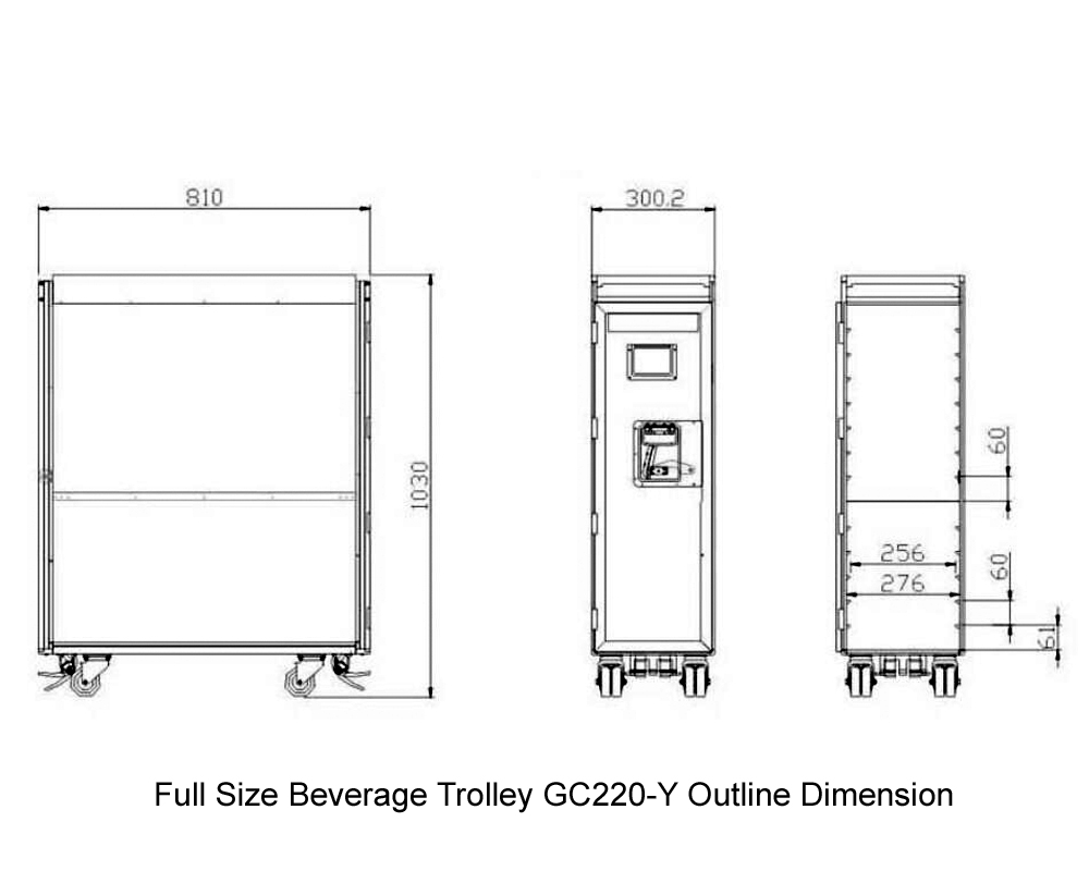 GC220-Y Full size Beverage Trolley Outline Dimension