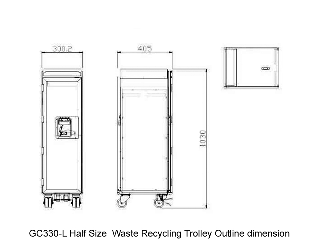 GC330-L Half Size  Waste Recycling Trolley Outline dimension