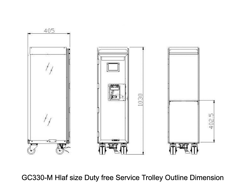 GC330-M Hlaf size Duty free Service Trolley Outline Dimension