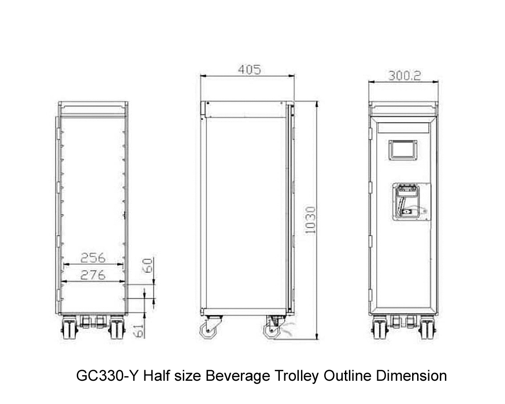 GC330-Y Half size Beverage Trolley Outline Dimension