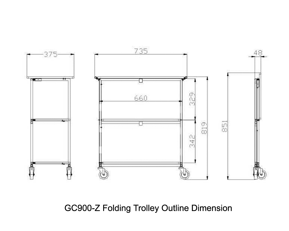 GC900-Z Folding Trolley Outline Dimension