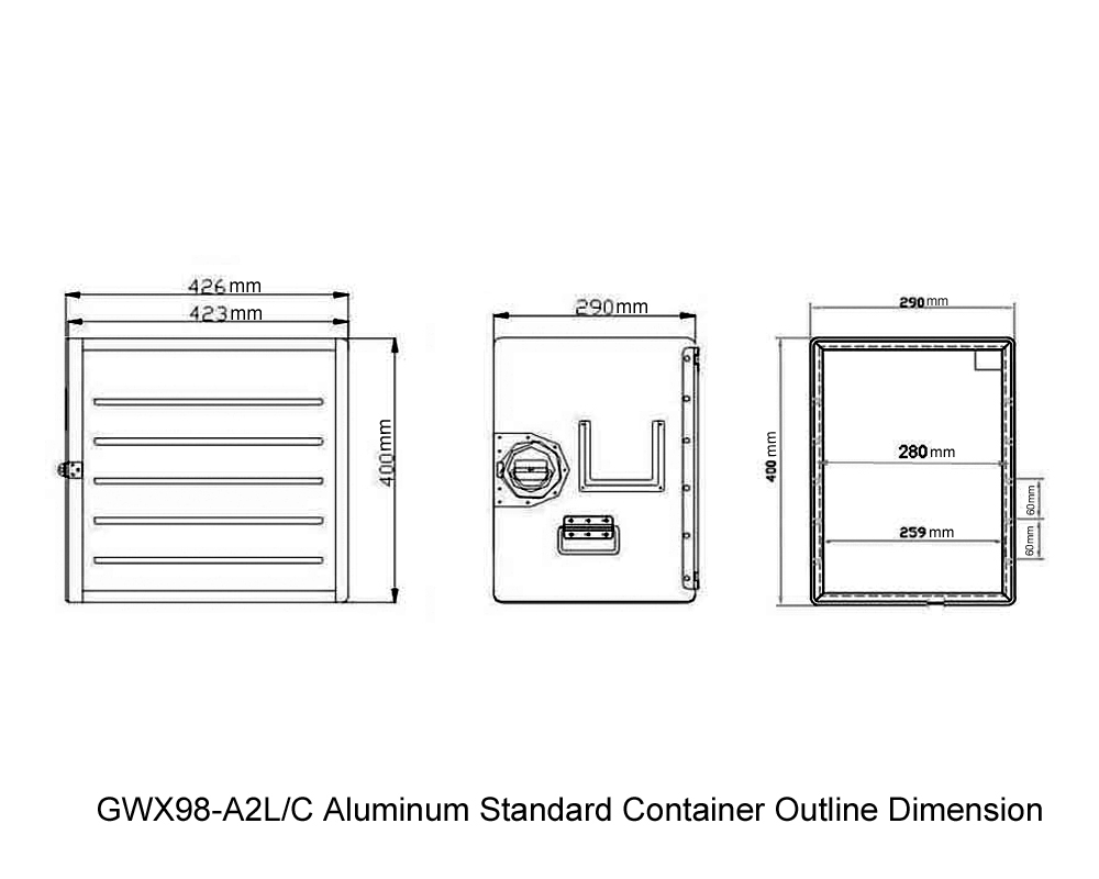 GWX98-A2L-C Aluminum Standard Container Outline Dimension