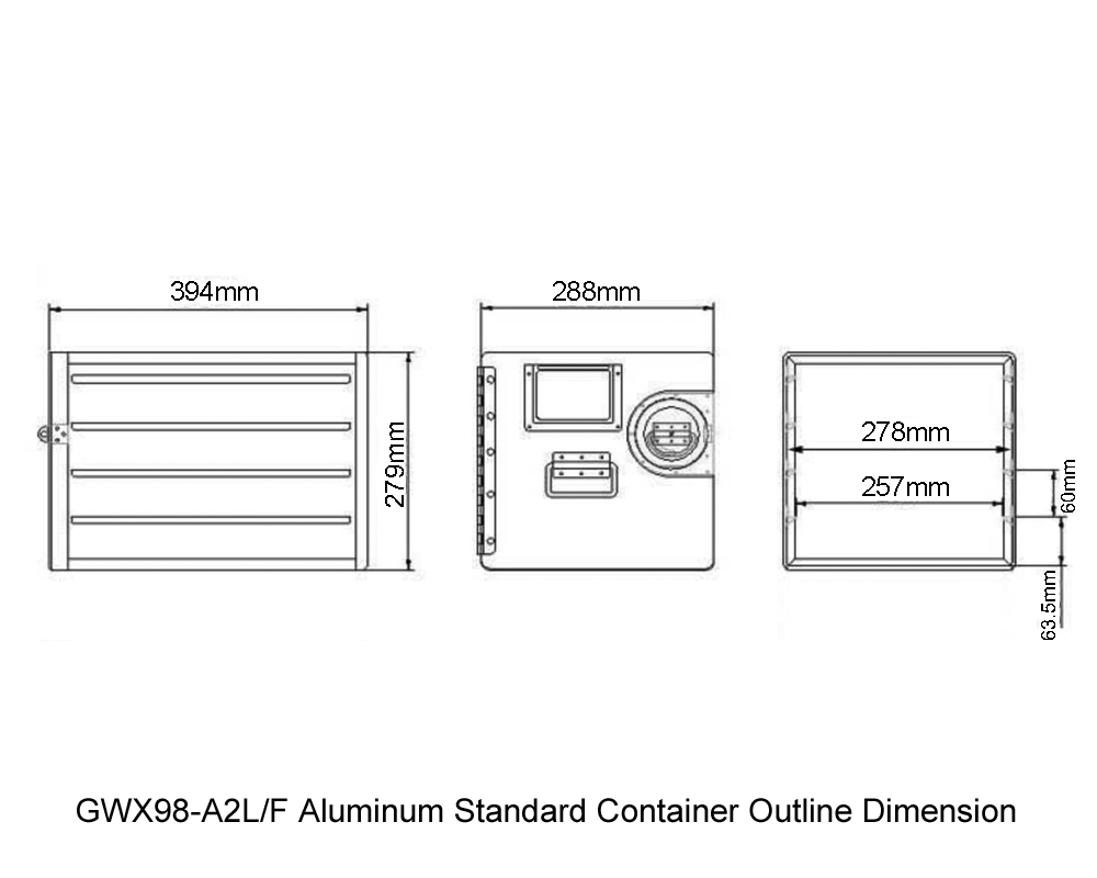 GWX98-A2L-F Aluminum Standard Container Outline Dimension