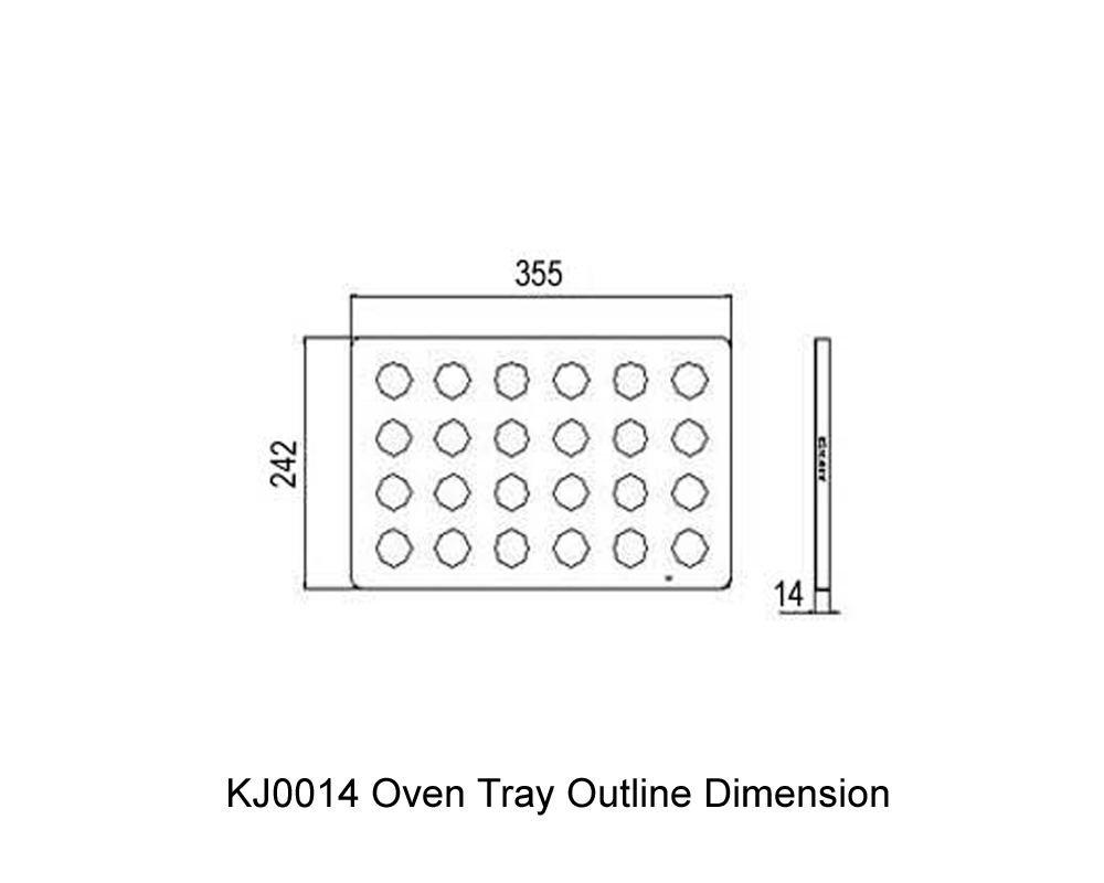 KJ0014 Oven Tray Outline Dimension