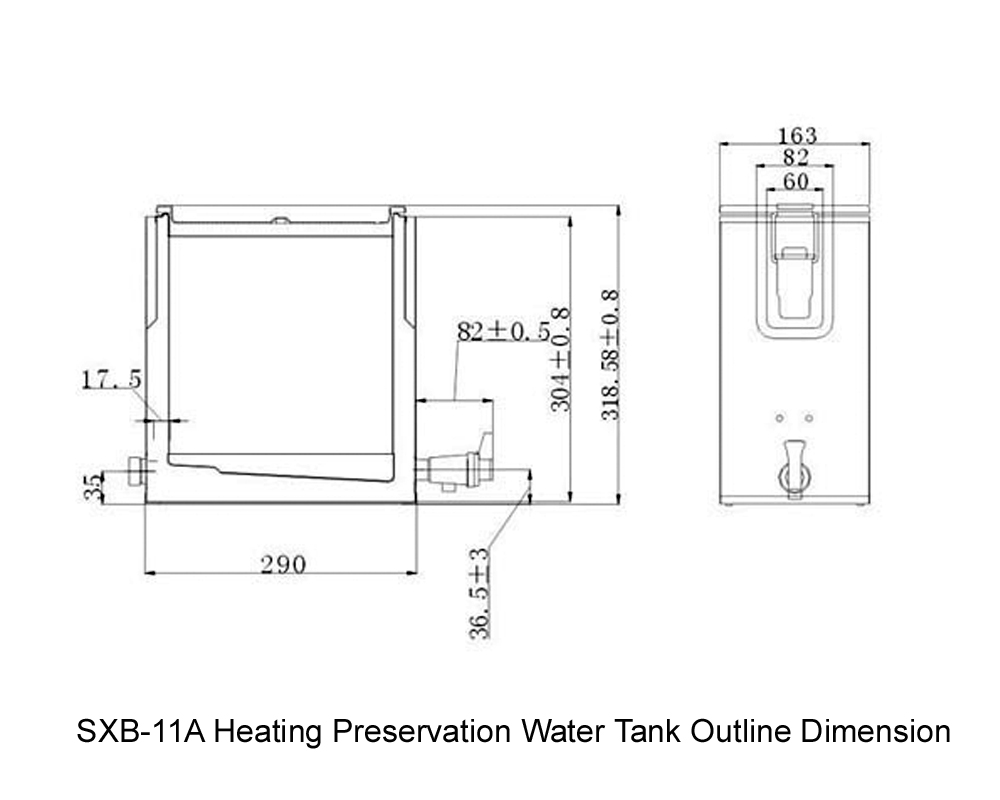 SXB-11A Heating Preservation Water Tank Outline Dimension