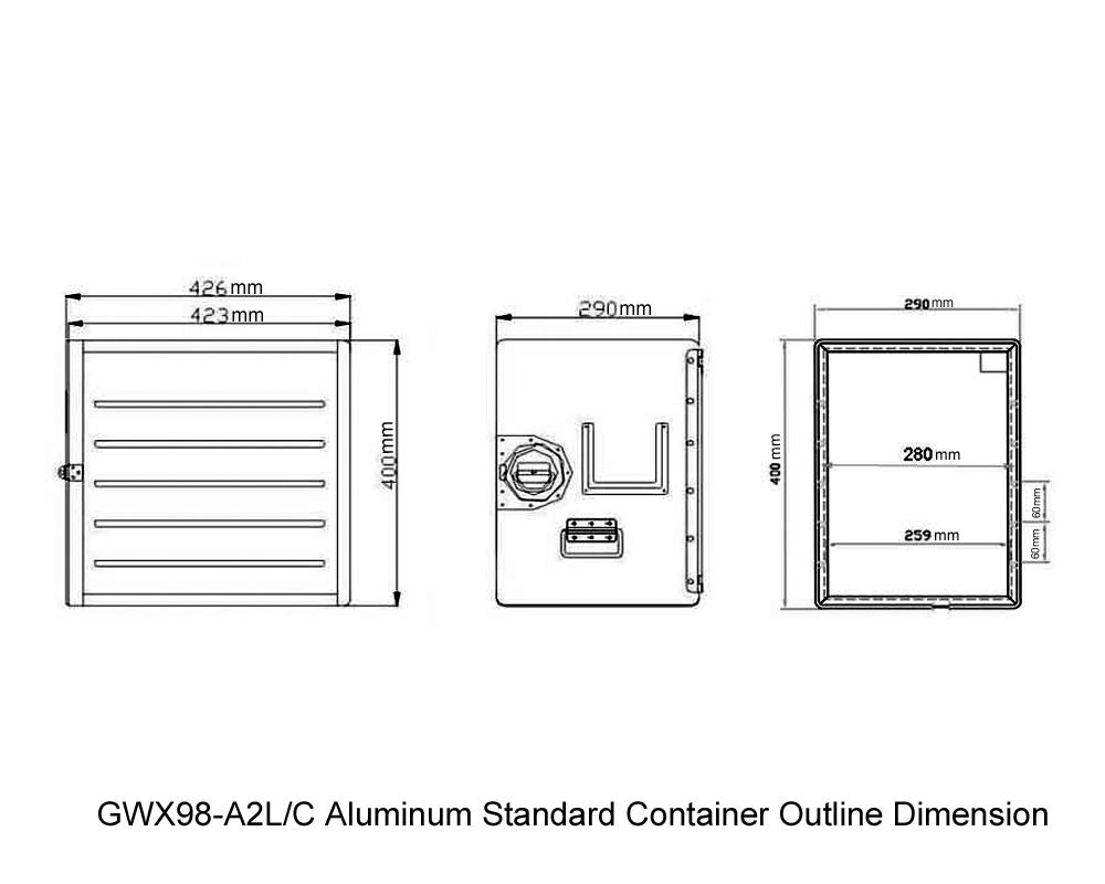 GWX98-A2L-C Aluminum Standard Container Outline Dimension