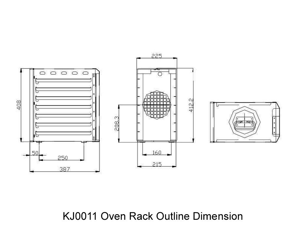 KJ0011 Oven Rack Outline Dimension