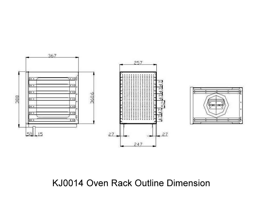KJ0014 Oven Rack Outline Dimension